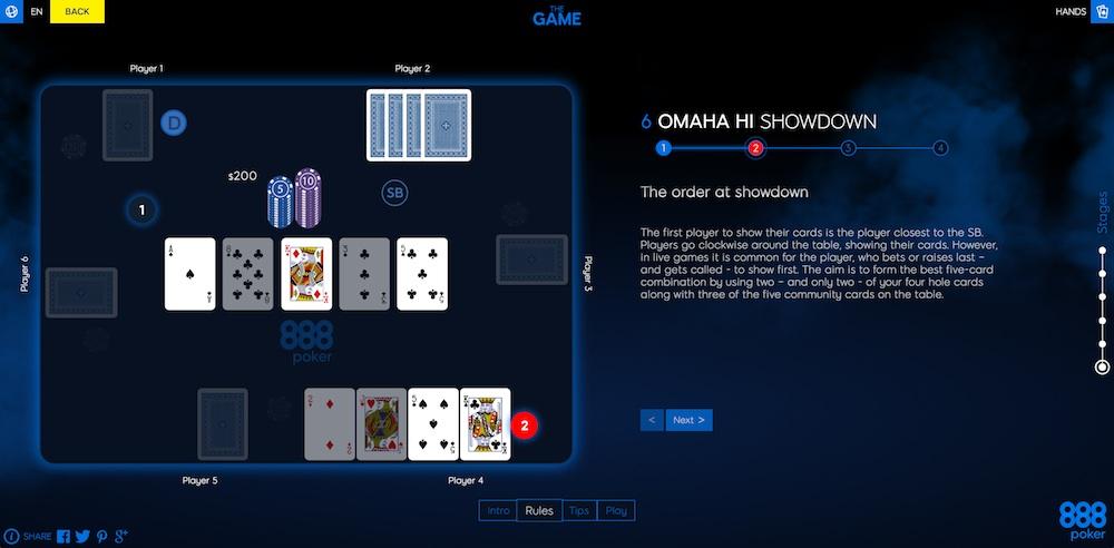 Пример игры в Omaha Hi
