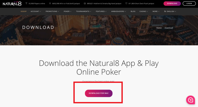 Download do cliente de pôquer Natural8 para MAC