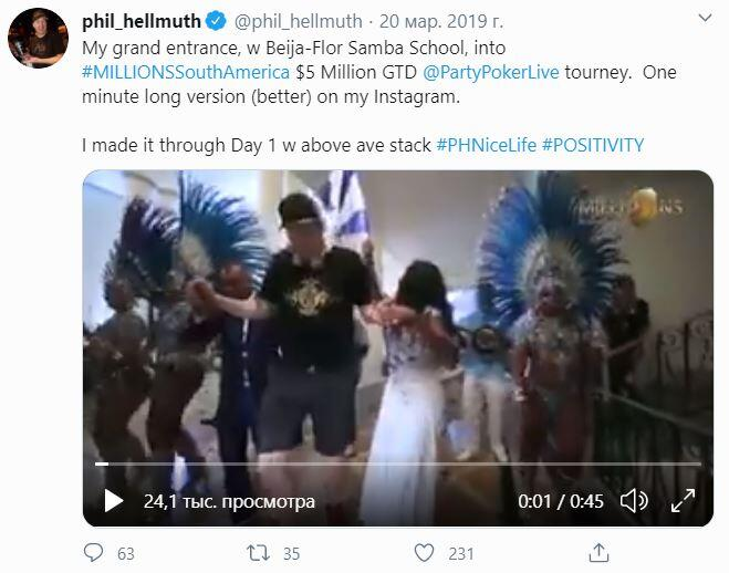 Phil Hellmuth posted video on Twitter