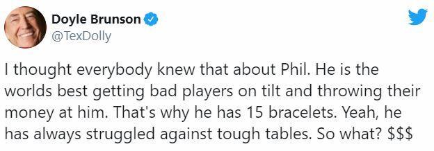 Doyle Brunson's post on Twitter