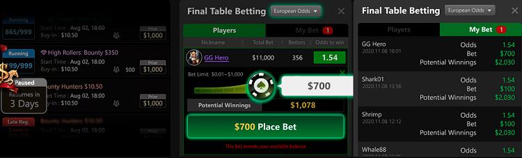 Betting option at GGPoker