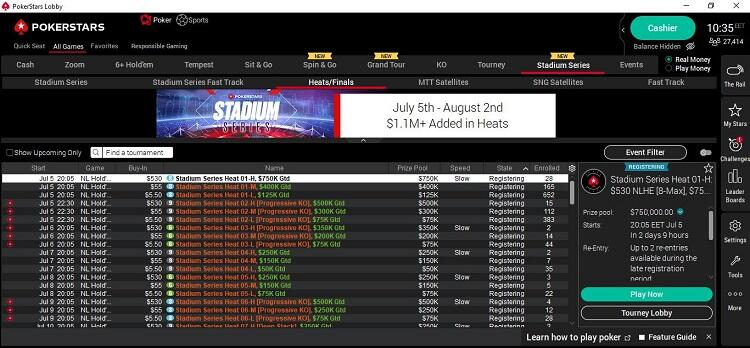 How to find tournaments Stadium Series in PokerStars lobby