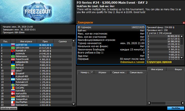 Мейн Ивент Freezout Series на 888poker