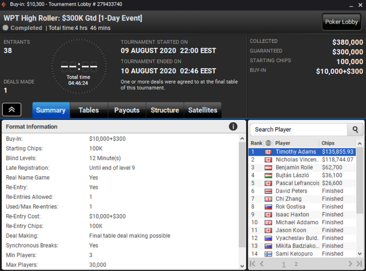 WPT Online at PartyPoker