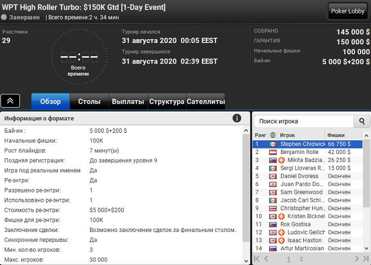 WPT High Roller Turbo на PartyPoker