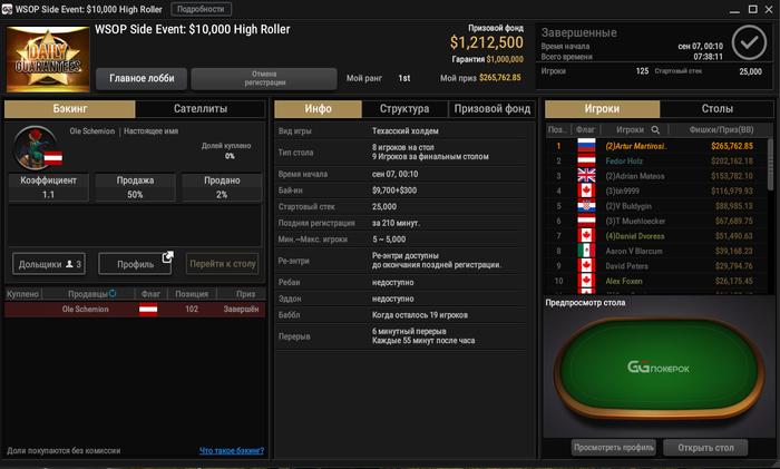 WSOP Side Event за 10 000$