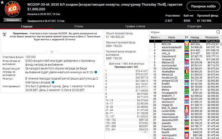 WCOOP-39-M на PokerStars
