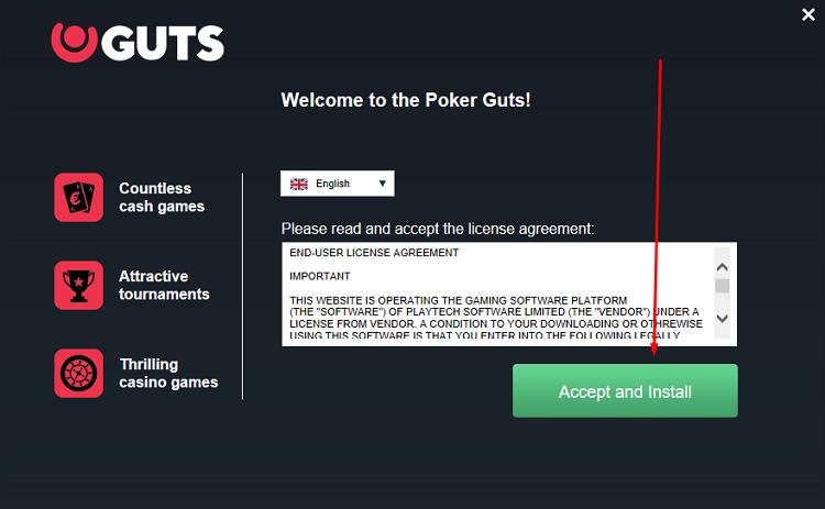 Processo de instalação do Guts Poker