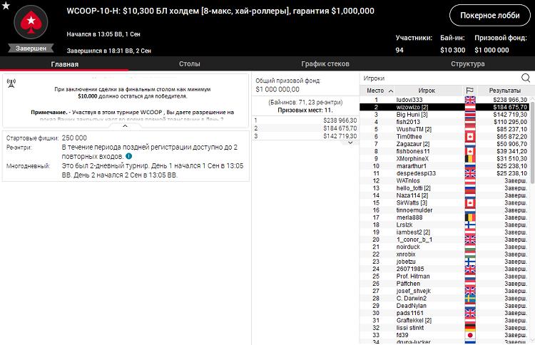 WCOOP-10-H на PokerStars
