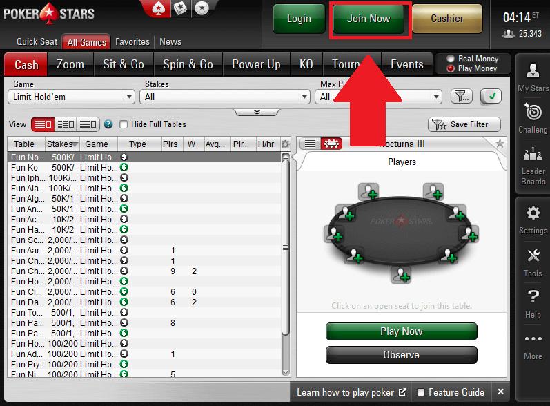 PokerStars registration