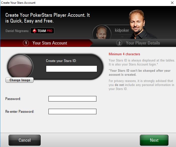 PokerStars registration window