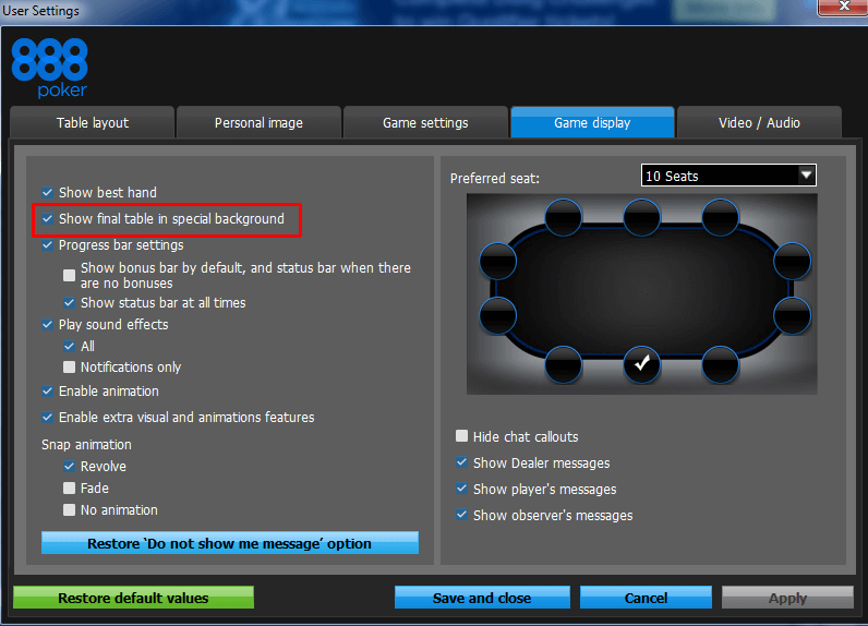 888poker layouts settings