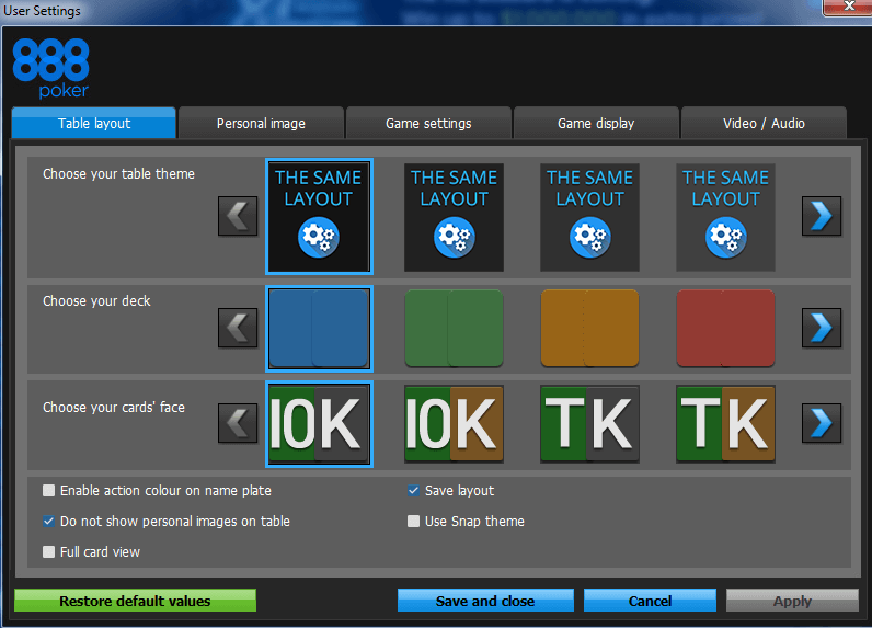 888 poker layouts