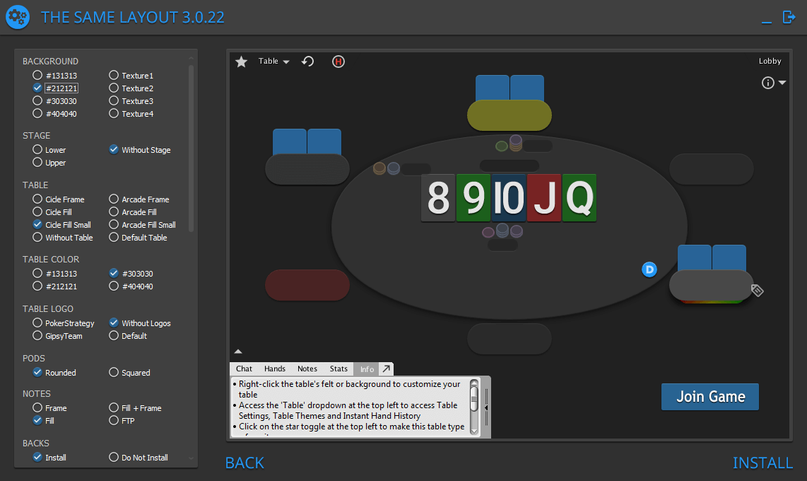 PokerStars layout design