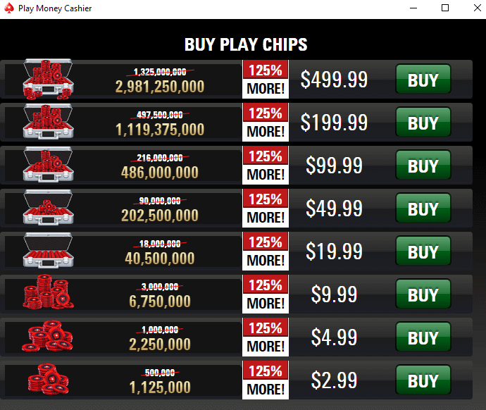 play money pokerstars price