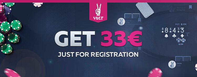 33€ bonus from Vbet Poker