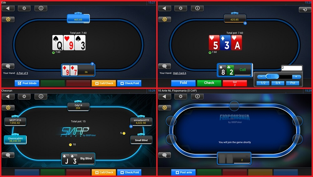 Poker tables in 888poker mobile app