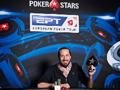 Стив О'Двайер празднует победу в турнире хайроллеров на EPT Монте-Карло
