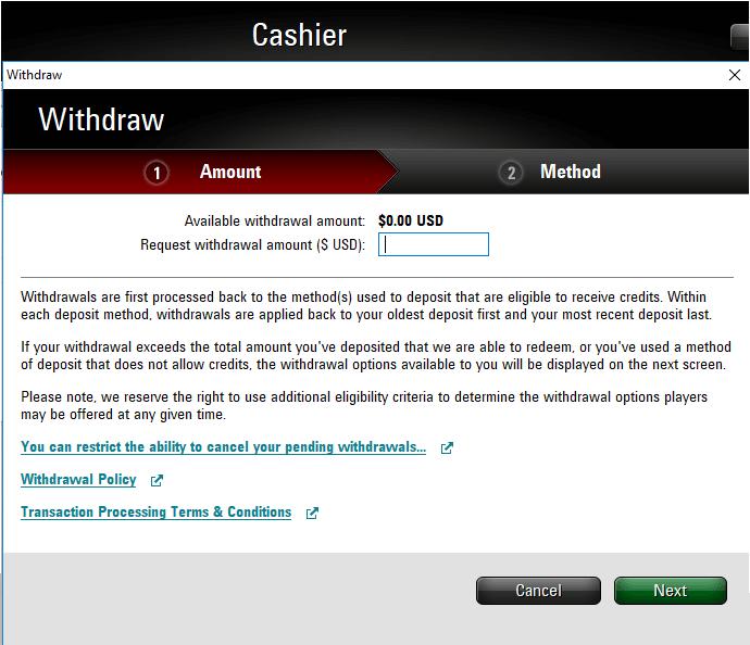PokerStars cashout
