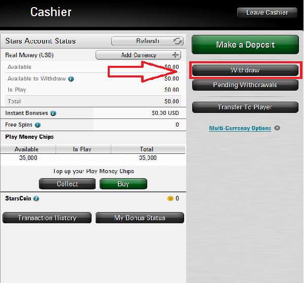 Withdrawal of money PokerStars