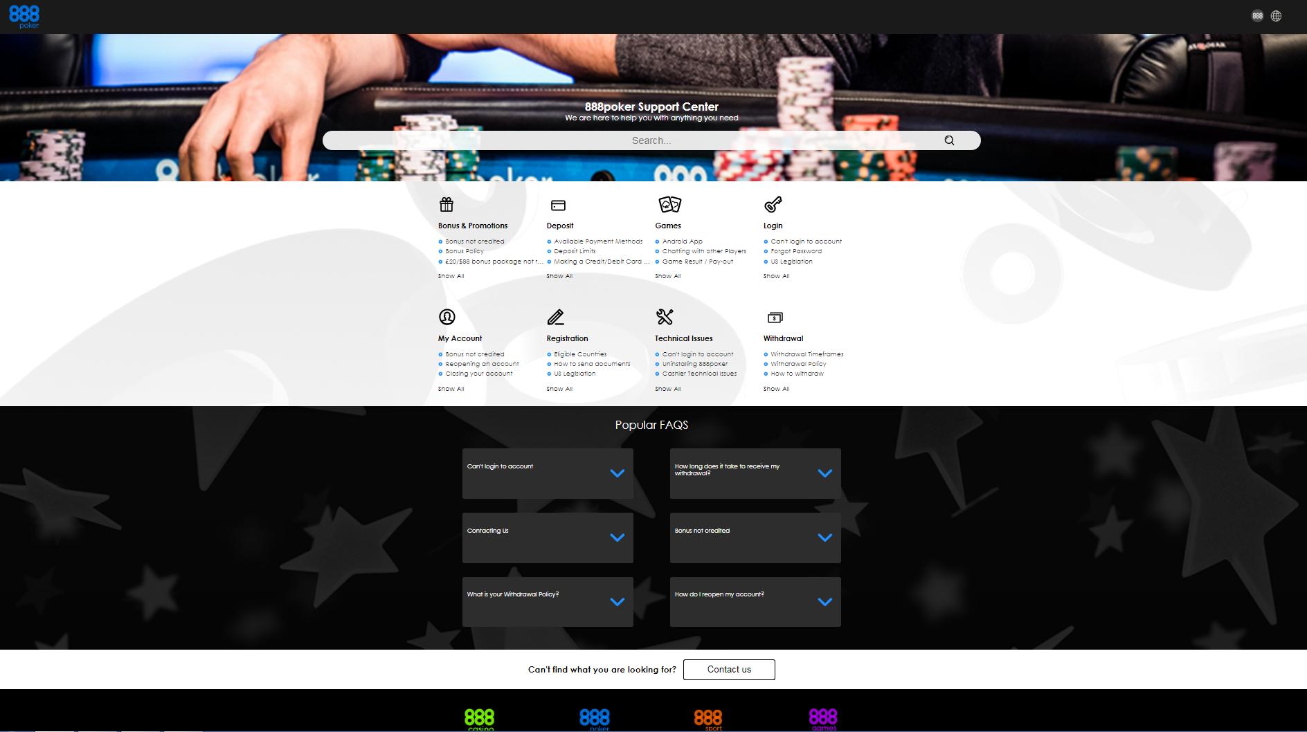 888 poker online help chat