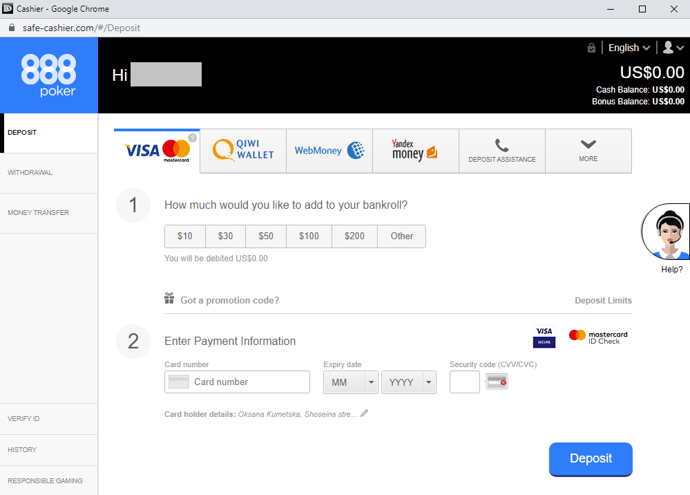 888 cashier in browser