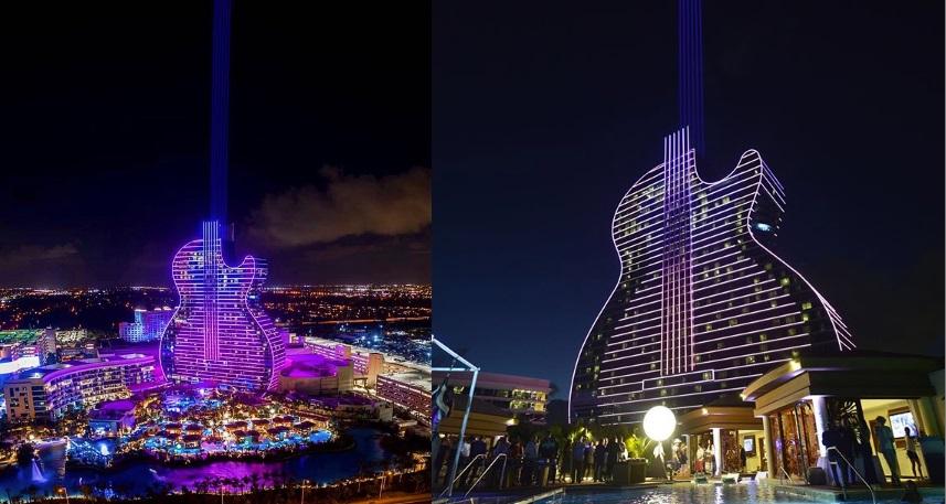 Seminole Hard Rock Guitar ночью