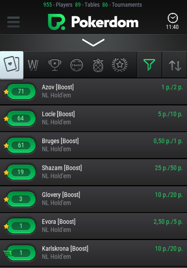 Pokerdom mobile version