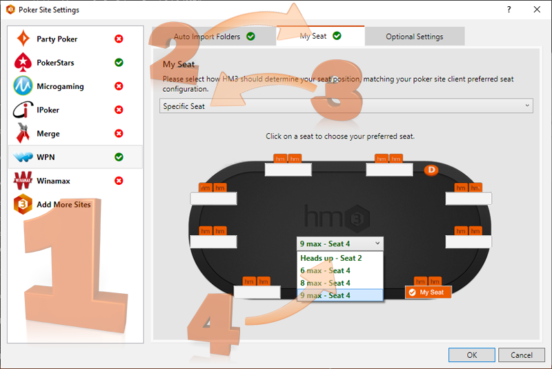 Poker Site Settings
