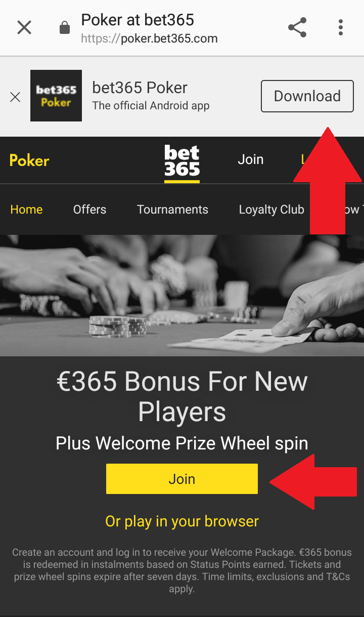 Bet365 Poker website