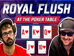 Incredible royal flush hands at the poker table