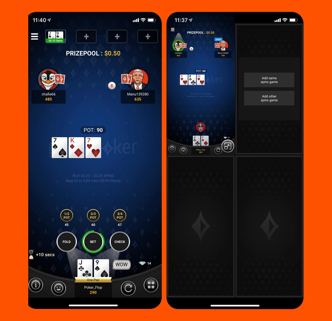 Portrait mode of Partypoker mobile app