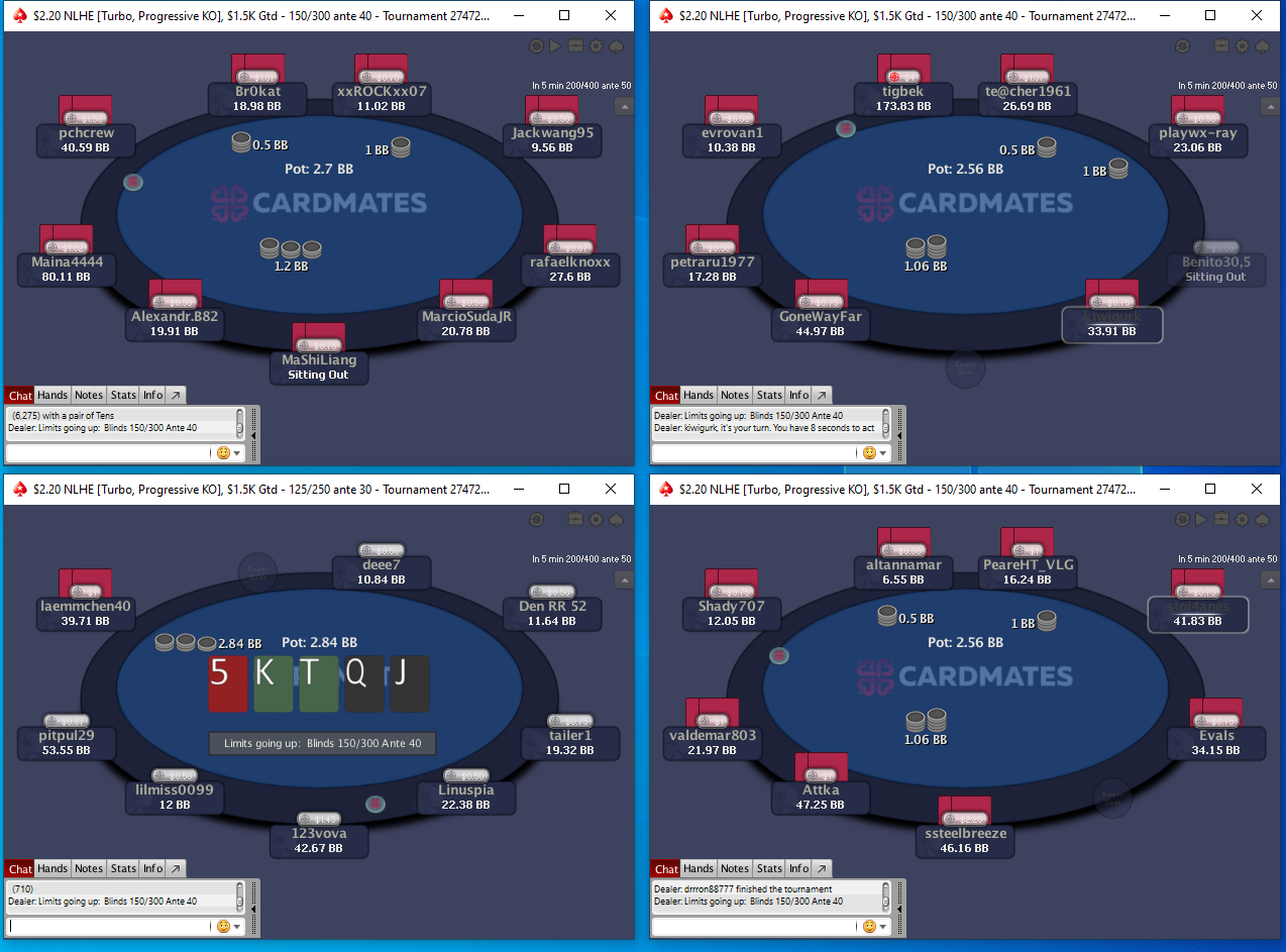 PokerStars layout for multi-tabling