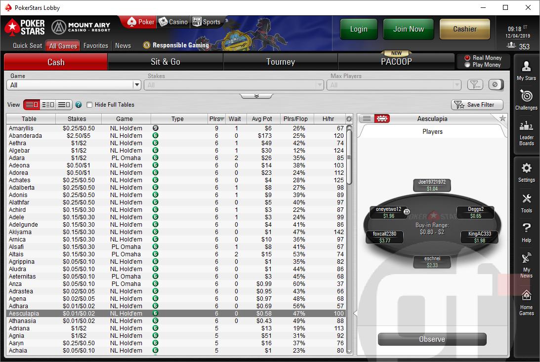 PokerStars PA lobby