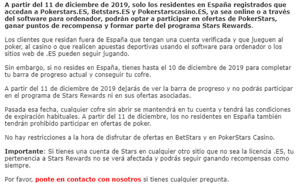 Letter from PokerStars.es