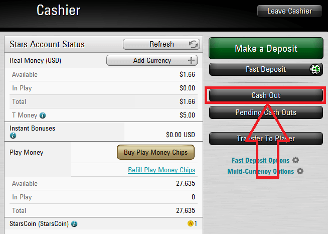 PokerStars cashier