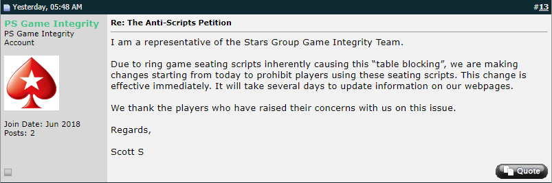 PokerStars anti-acripts petition