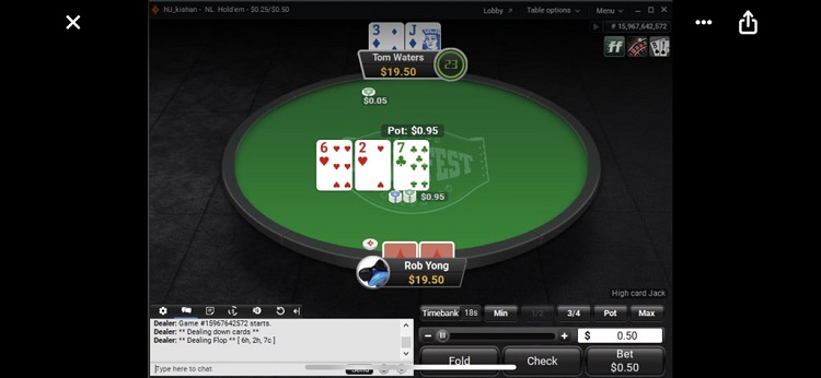 Online table PartyPoker