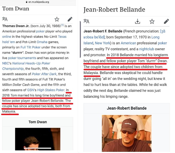 Tom Dwan and Jean-Robert Bellande on Wikipedia 2019