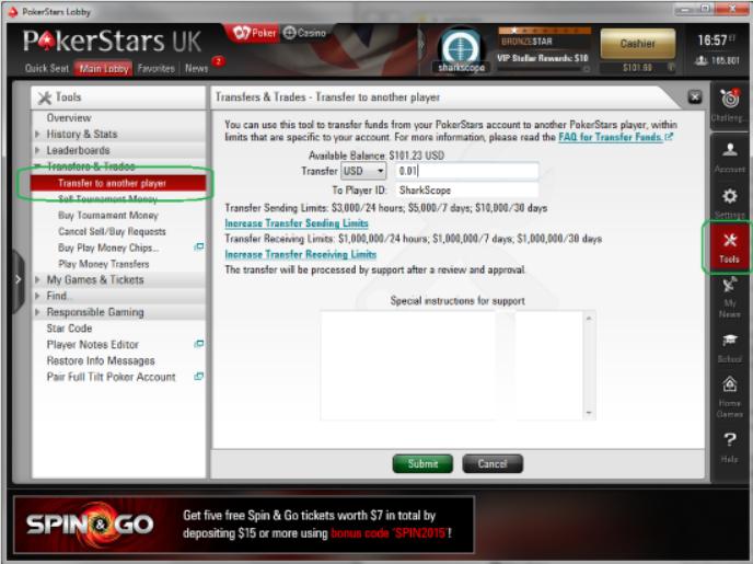 Перевод денег в покере