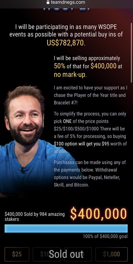 Negreanu sold his action at WSOP Europe