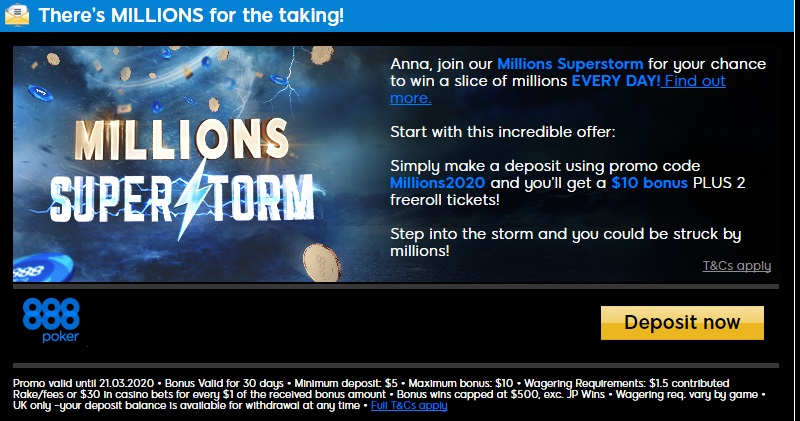 Millions2020 bonus code at 888 poker
