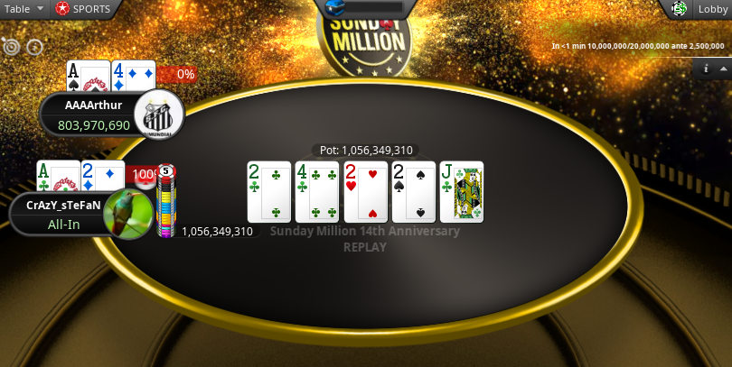AAAArthur and CrAzY_sTeFaN in Sunday Million 2020