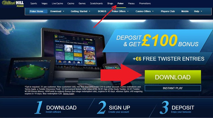 William Hill download on computer