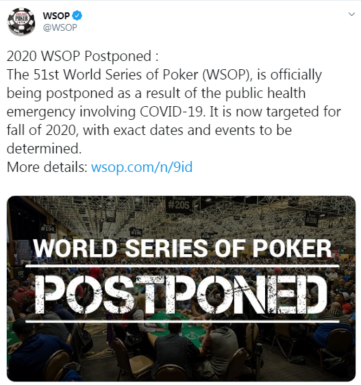 WSOP official page on Twitter
