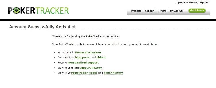 успешная регистрация PokerTracker 4