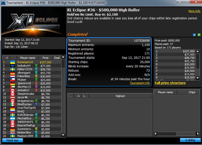 Победа Romeopro на 888покер