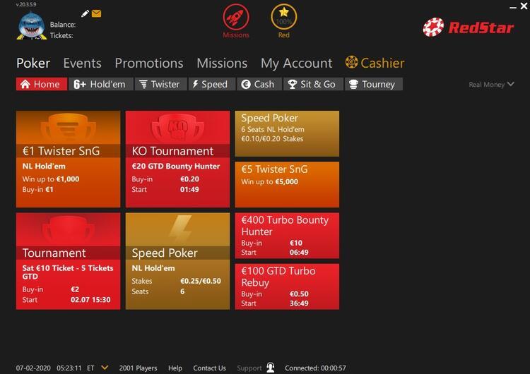 RedStar Poker lobby