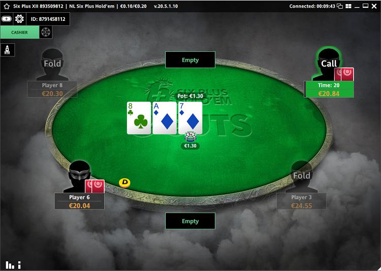 Mesa de jogo da Guts Poker