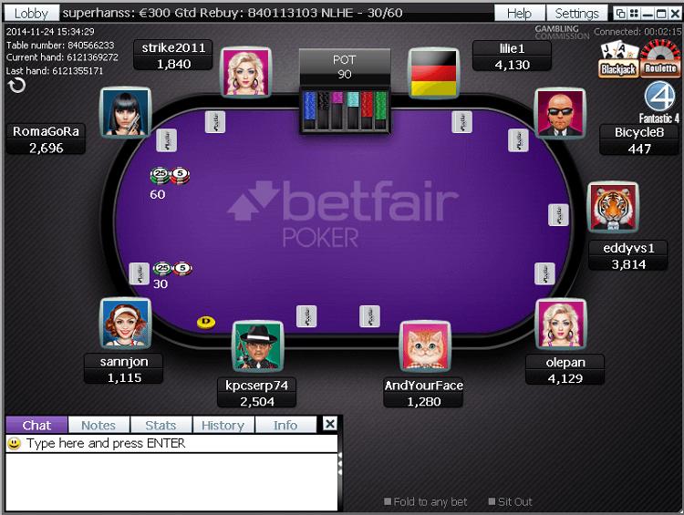 Столы в покер-руме Betfair